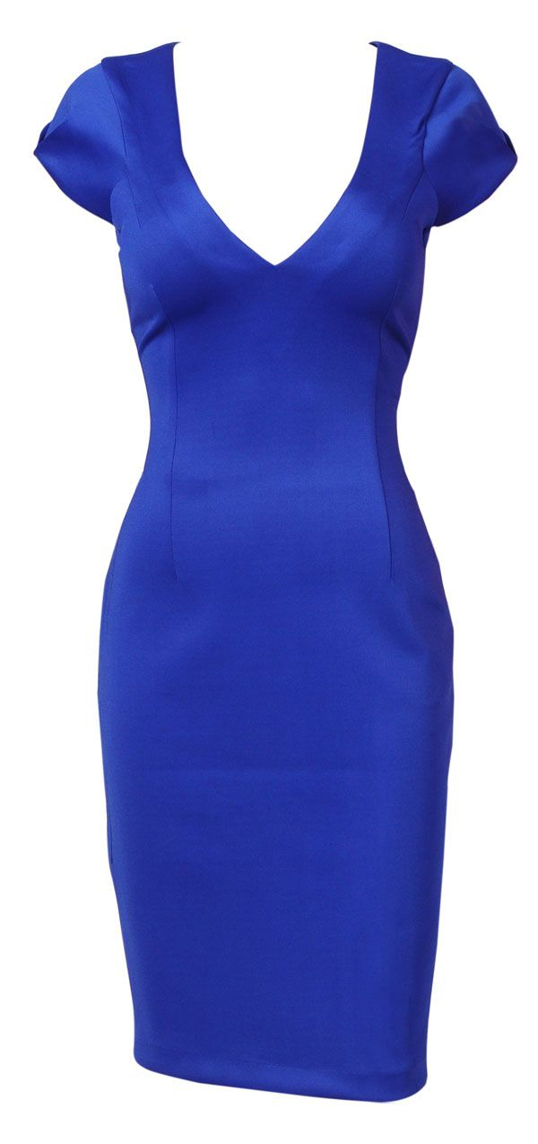 Dita Cobalt Blue V Neck Pencil Galaxy Dress