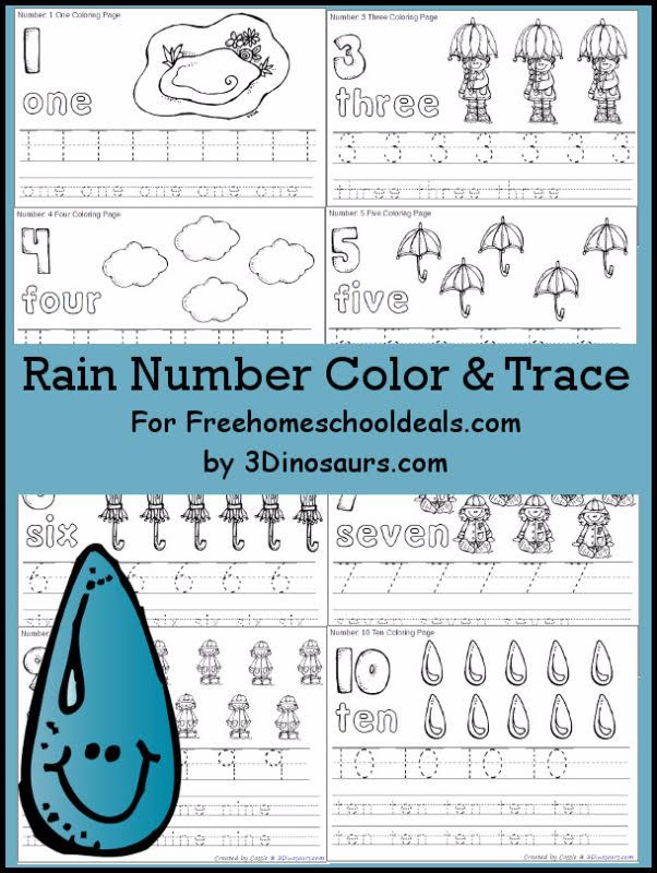 FREE RAIN THEMED NUMBER COLOR & TRACE PRINTABLES (Instant Download ...