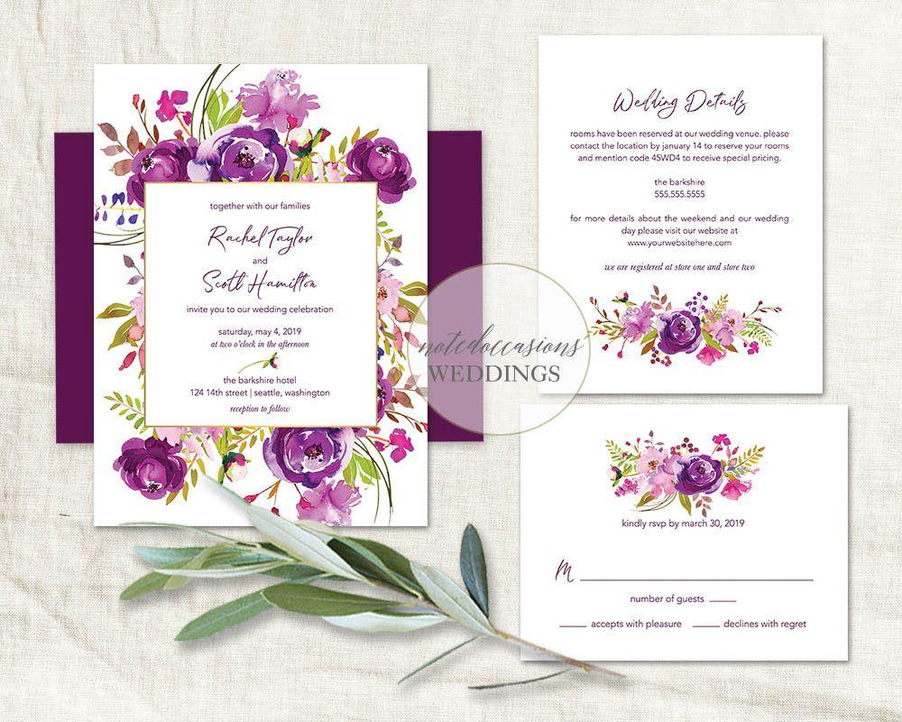 Purple Wedding Invitations Printable Set Purple Watercolor Floral