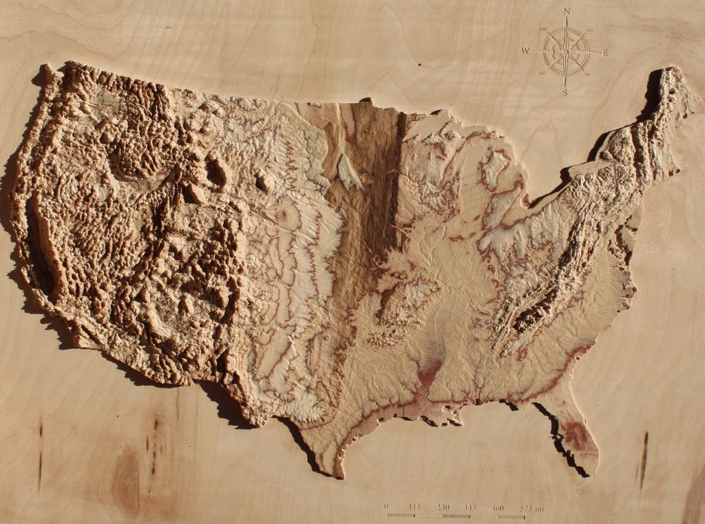 USA 3D Wooden Map natural colors