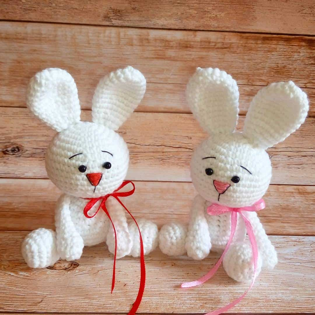 Weißes Kaninchen-Amigurumi-Muster frei | nähen | Pinterest ...