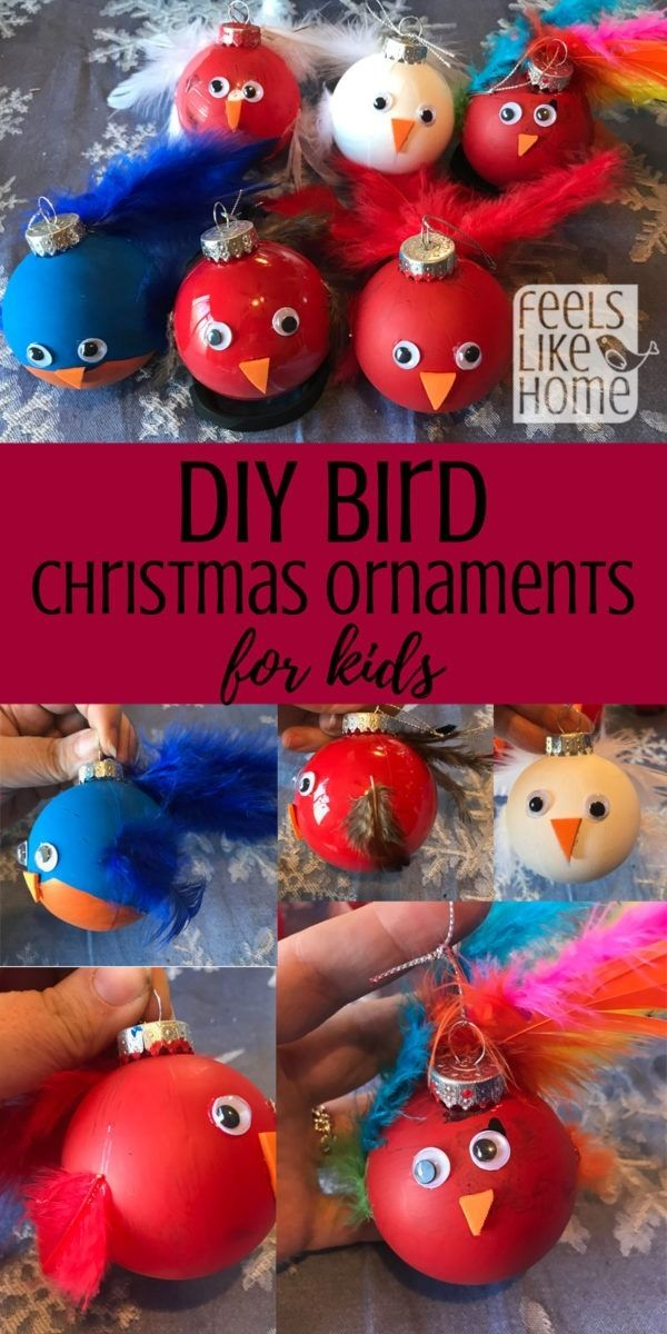 diy bird christmas ornament these cute painted ornaments have real feathers perfect christmas craft for kids or teens