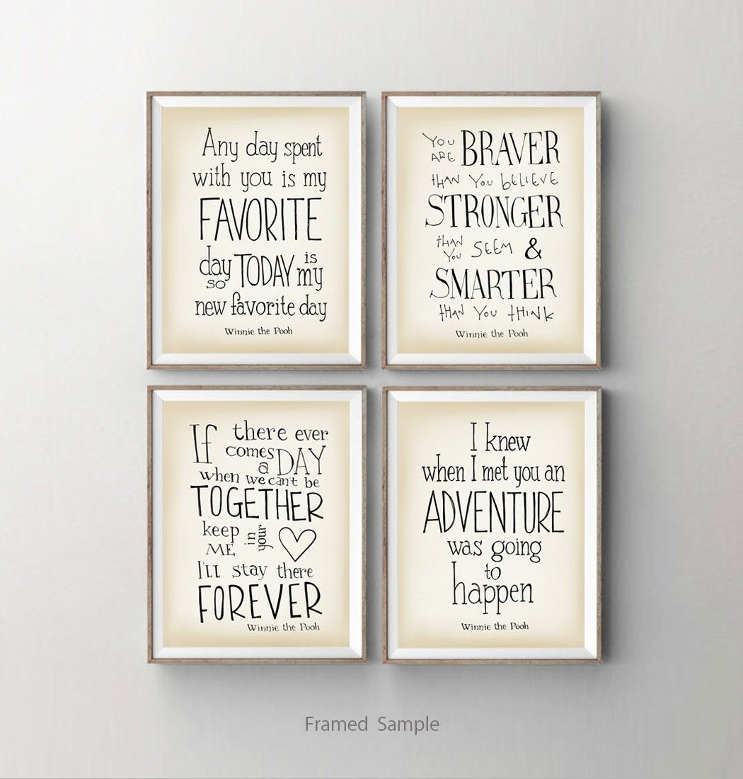 2014 wall decor ideas winnie the pooh nursery art print set of 4 winnie the pooh nursery art print set of baby shower gift kids room wall art disney movie quotes wall decor dorm decor amipublicfo Images