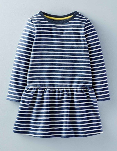 Mini Boden Sweatshirt Dress in Imperial Blue Stripes.