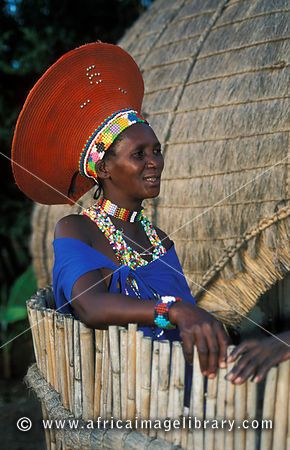 Zulu married woman wearing a traditional hat, Kwazulu-Natal, South Africa