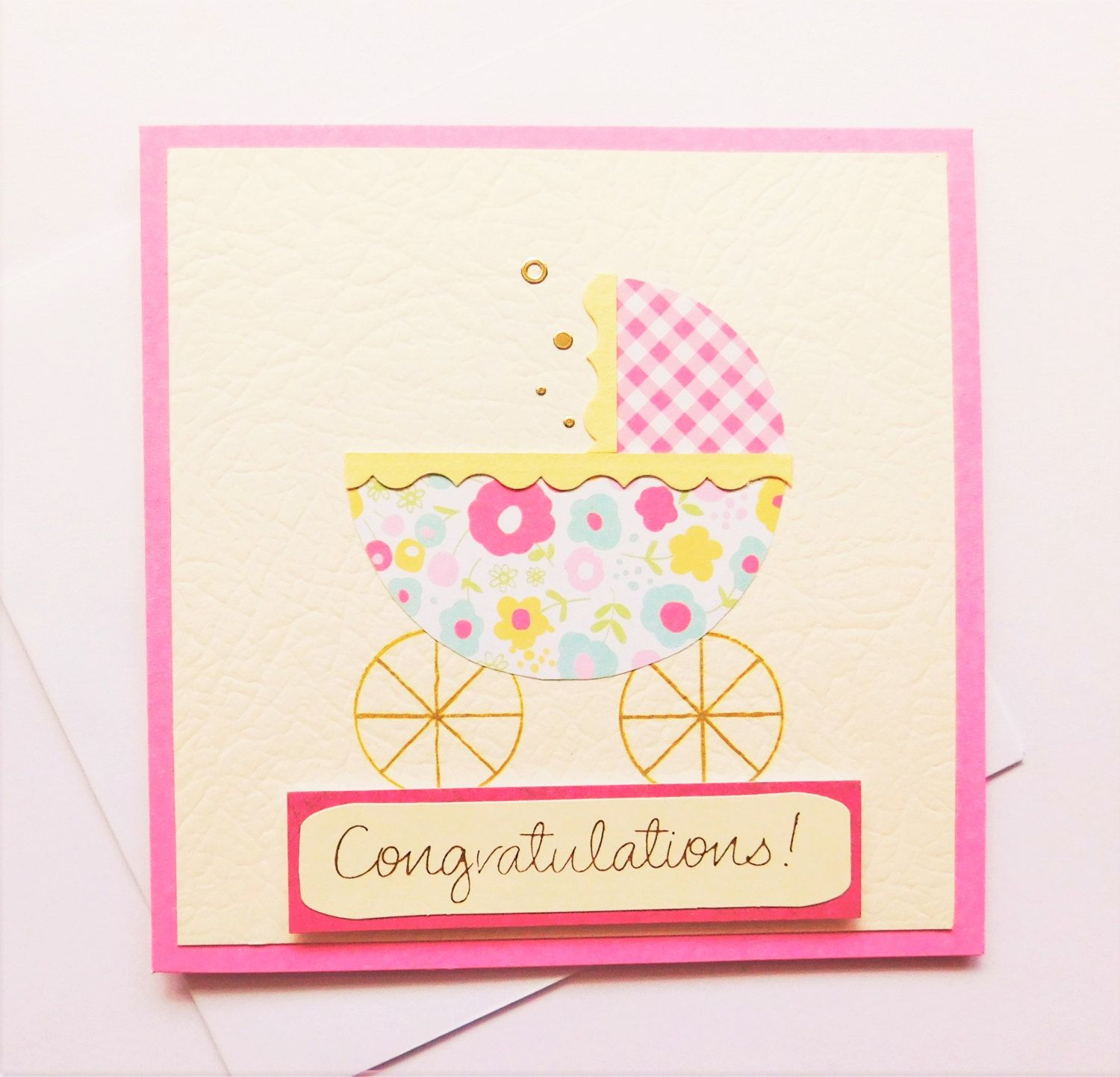 new baby congratulations card handmade baby girl welcome new arrival congratulations baby shower card cute new born