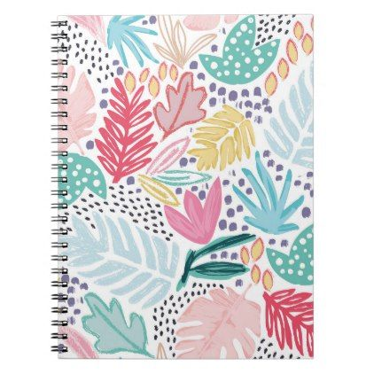 Colourful Shapes Tropical Pattern Spiral Notebook flowers floral