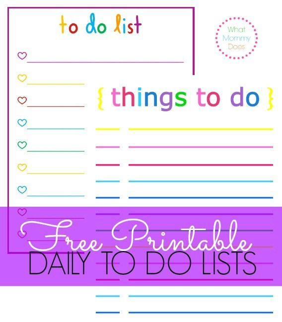Colorful Printable Daily Checklist for Keeping Up With Stuff - rainbow template