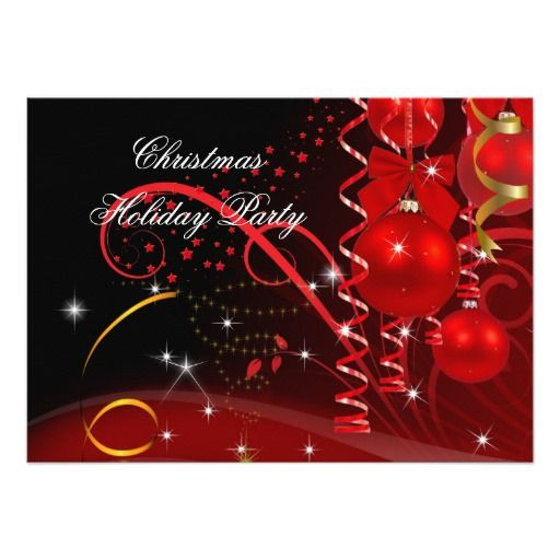 christmas holiday party red black gold balls invites