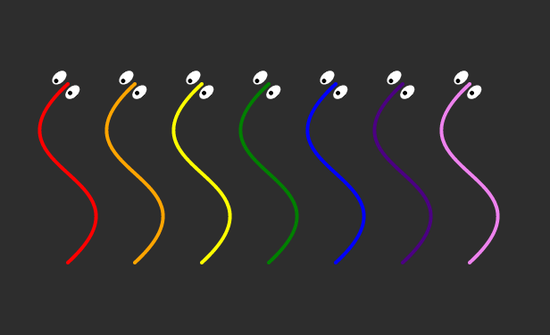 SVG Dancing Lines with eyes animation by Chris Gannon