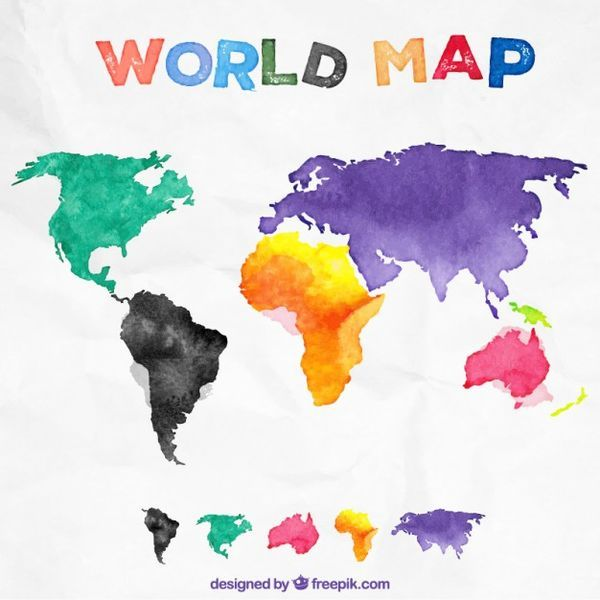 Watercolor world map vector free download free illustrations watercolor world map vector free download gumiabroncs Images