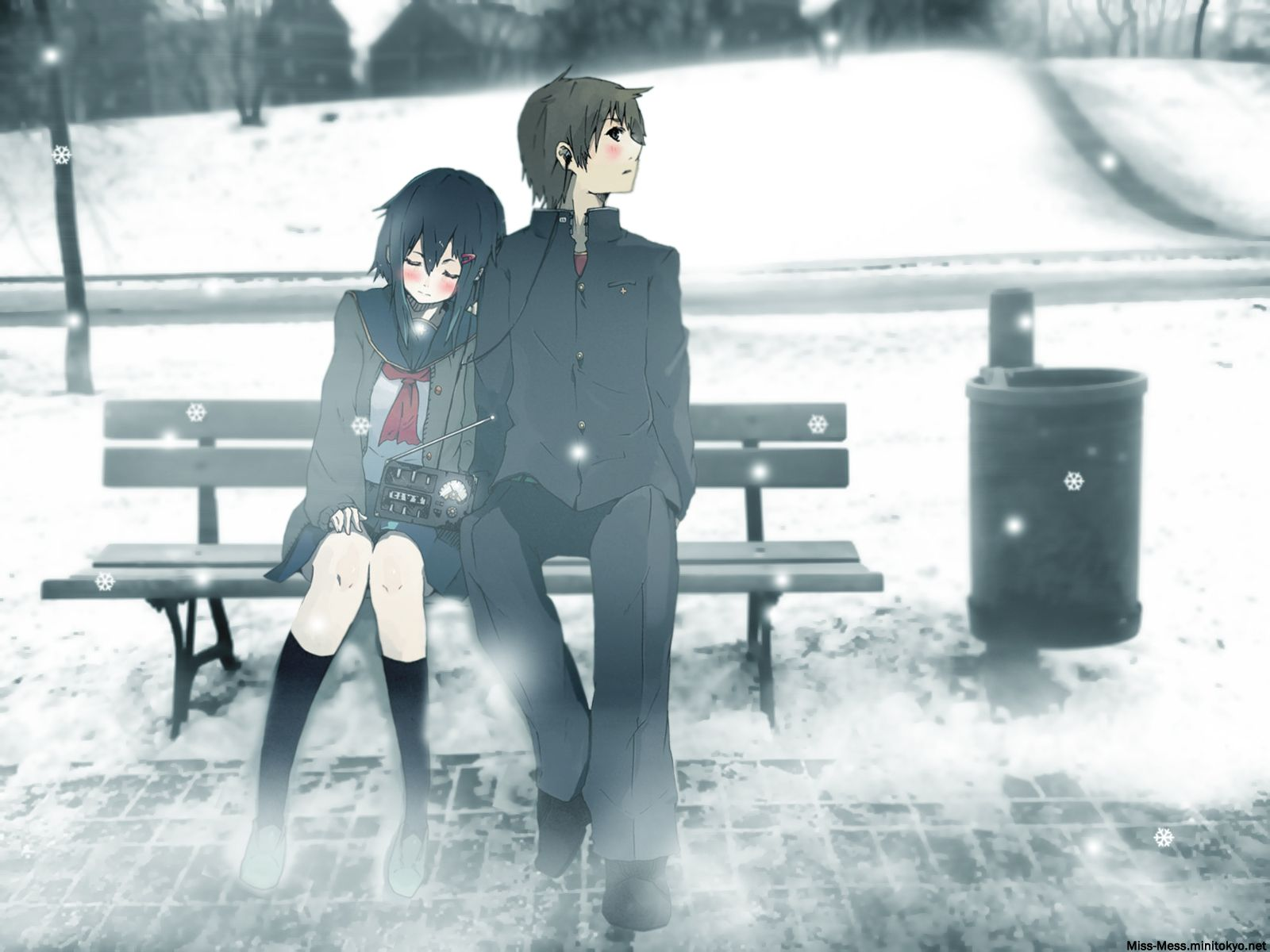 Anime couple sitting on a bench in the snow Meg