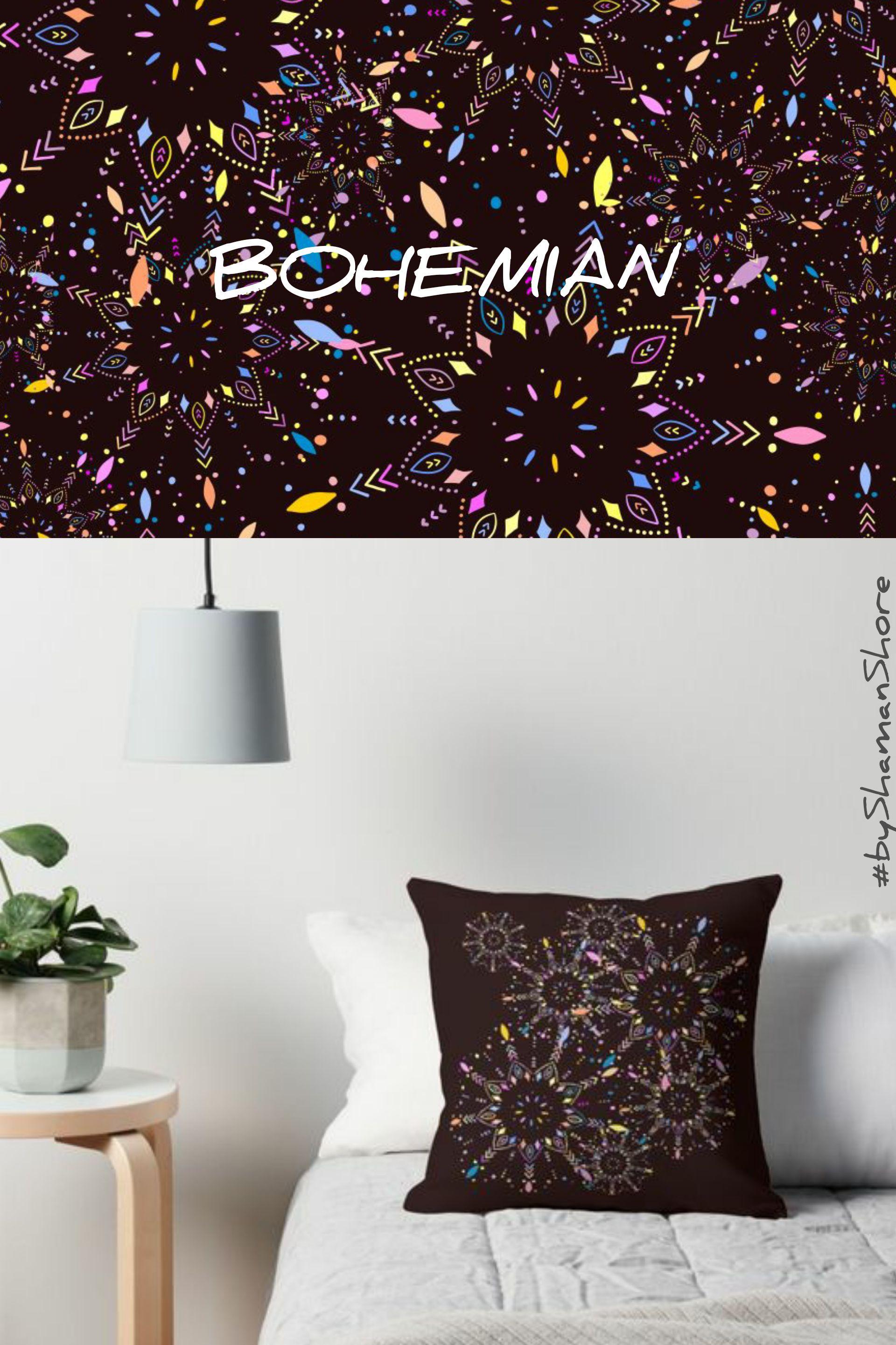 . Brown Throw Pillow  Boho Home Decor  Bohemian Chic  Mandalas