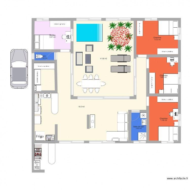 Projet maison cr ole plain pied avec patio int rieur 1 for Plan maison avec jardin interieur