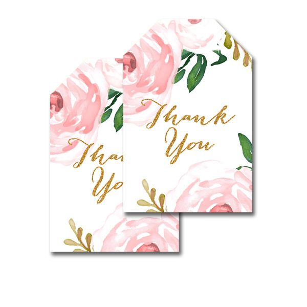 Free Printable Thank You Tags Pretty Watercolor Flowers Favor