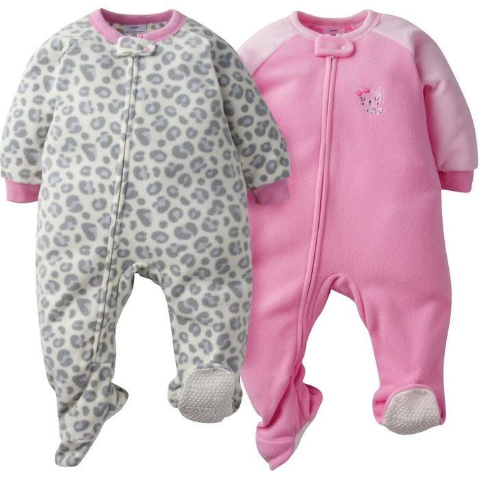 2-Pack Baby Girl Pink Leopard Blanket Sleepers | Blanket sleeper, Baby girl  pajamas, Gerber baby