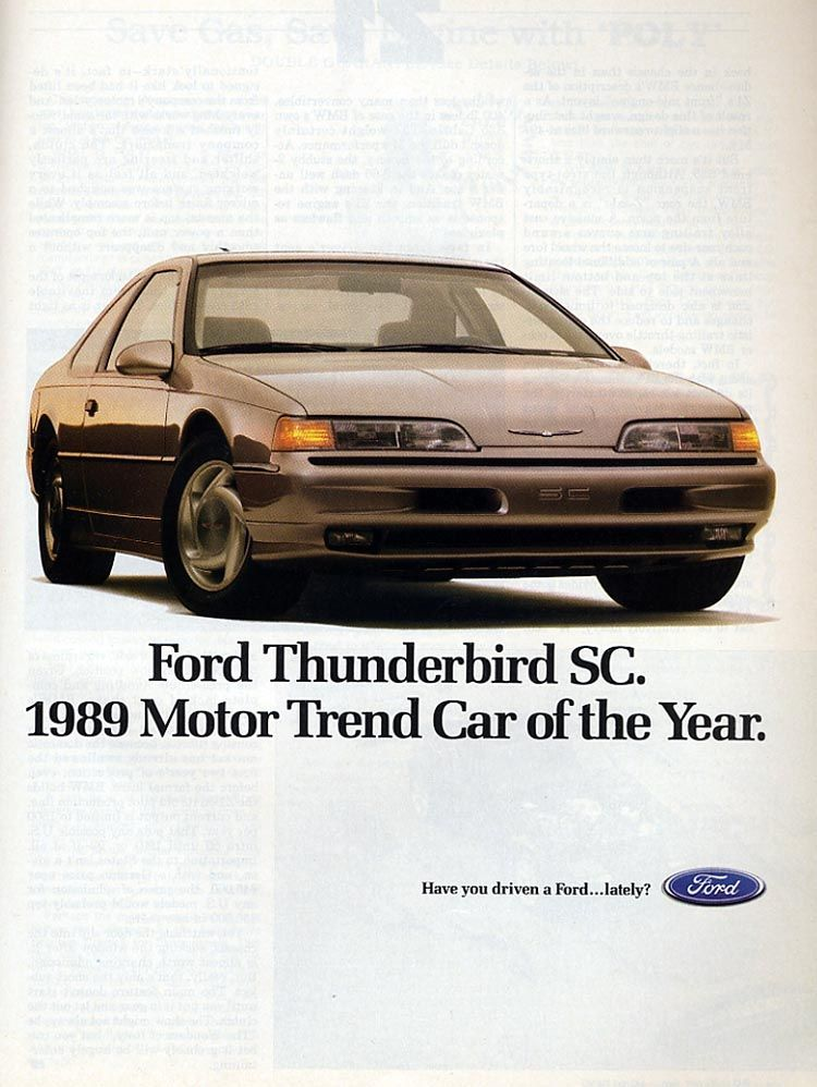1989 Ford Thunderbird Sc Ad Ford Thunderbird Thunderbird Stretch Canvas