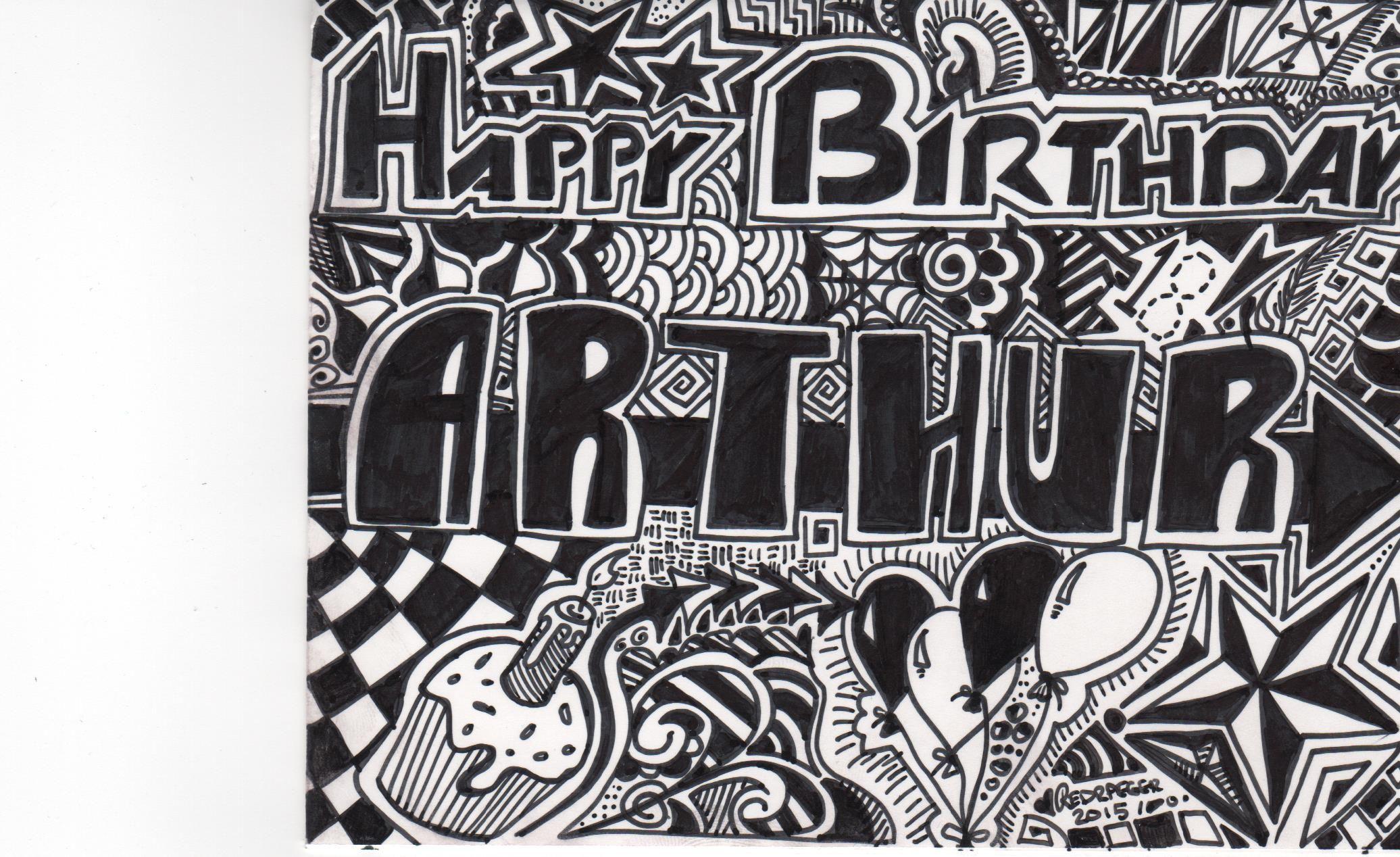 Sharpie Art Birthday Card For My Nephew Arthur S 18th Birthday
