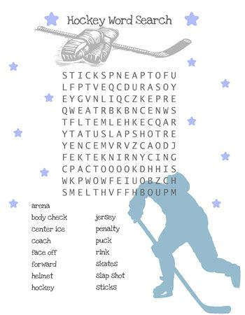 Hockey Word Search For Kids Hockey Kids Hockey Crafts Hockey