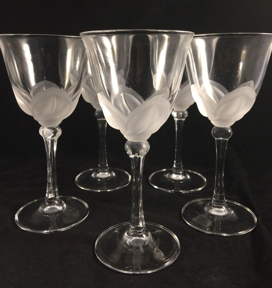 5 Cristal D Arques J G Durand Florence Pattern Frosted Petal Wine Glasses 6 5 8 Ebay Wine Glasses Stemware Highball Glass