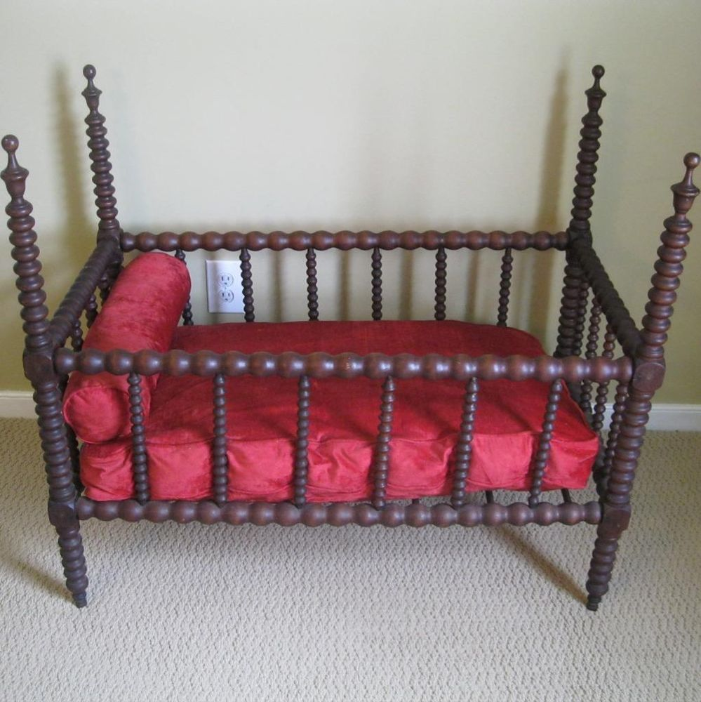 antique jenny lind spindle spool baby crib bed with mattress