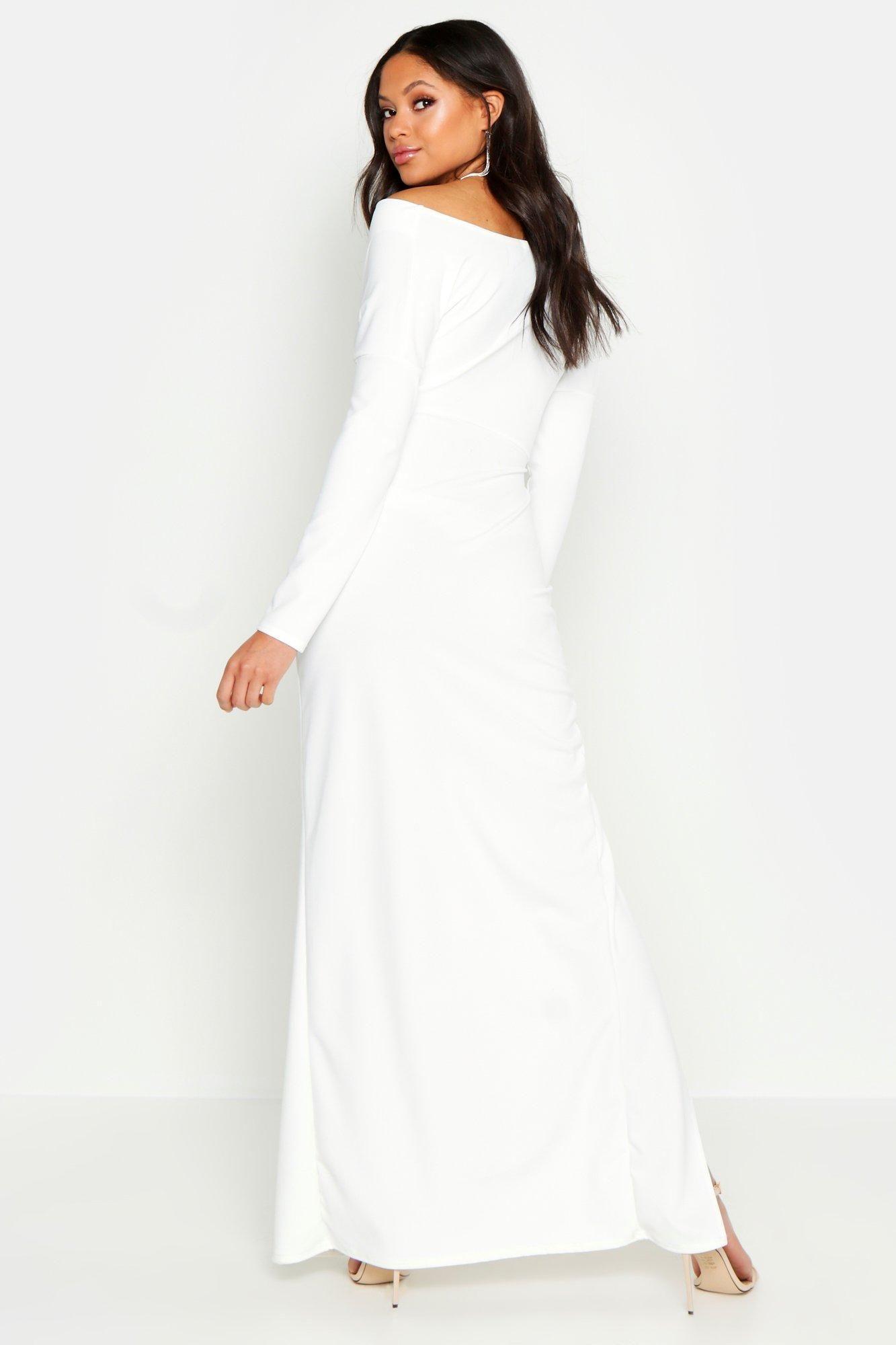 Tall Off The Shoulder Thigh Split Maxi Dress Boohoo Split Maxi Dress Pink Maxi Dress Maxi Dress [ 2000 x 1333 Pixel ]