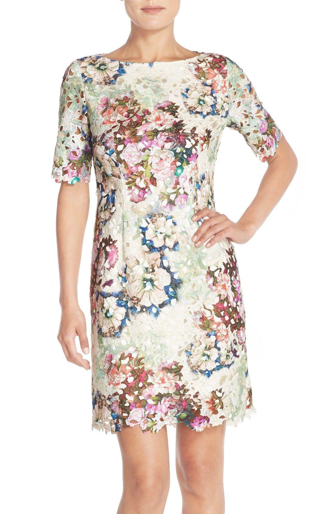 Tahari Floral Print Lace Sheath Dress Regular Petite Nordstrom Lace Sheath Dress Work Dresses With Sleeves Dresses [ 1687 x 1100 Pixel ]