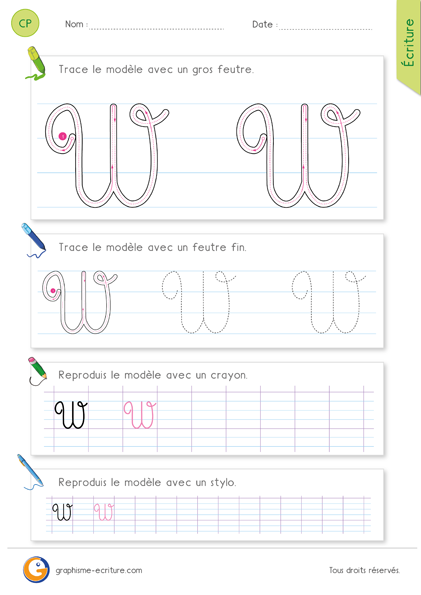 Pdf fiche pour apprendre crire la lettre w majuscule cursive apprendre crire - H en majuscule ...