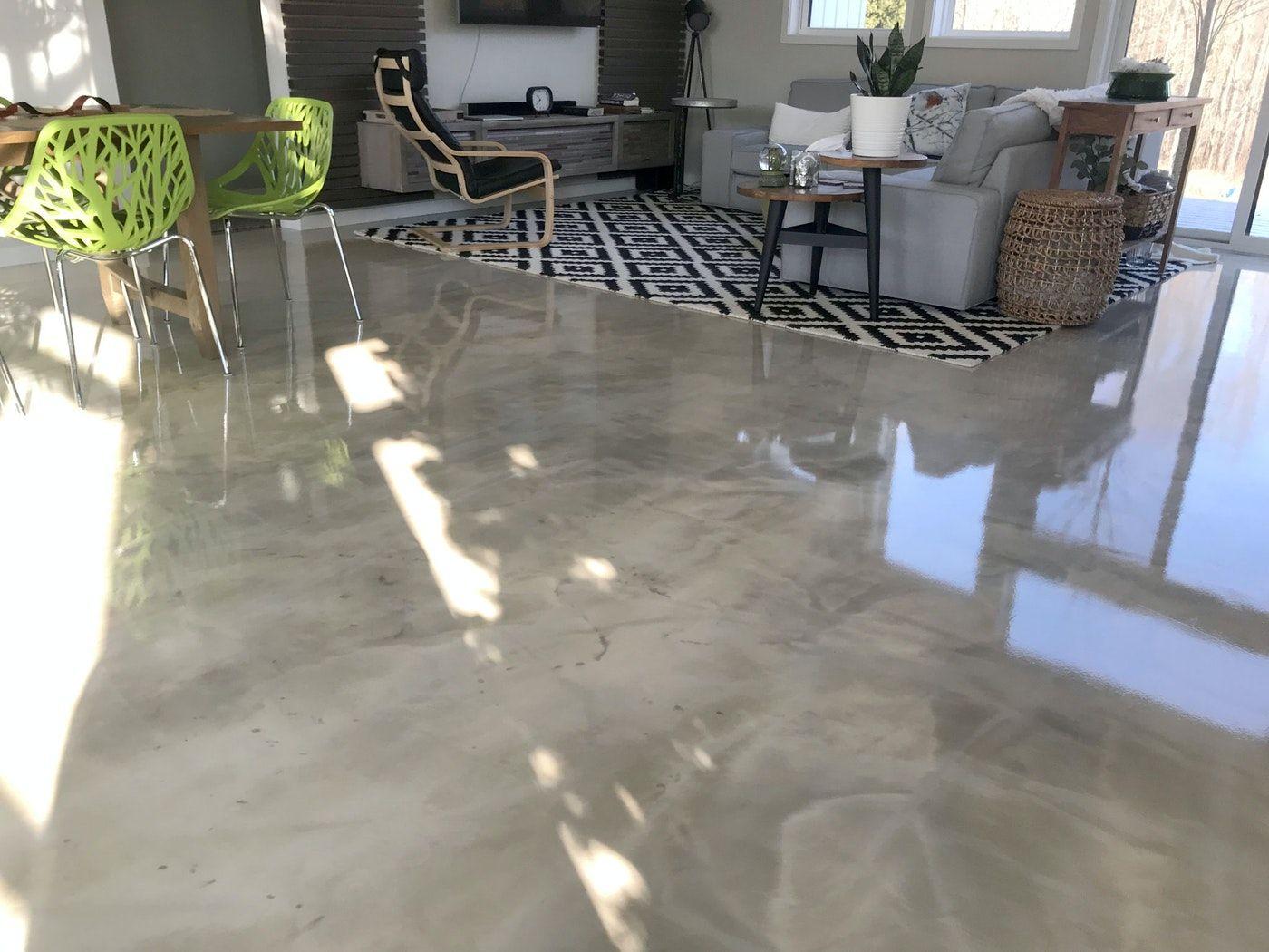 DIY Metallic Epoxy Flooring over gypsum underlayment for