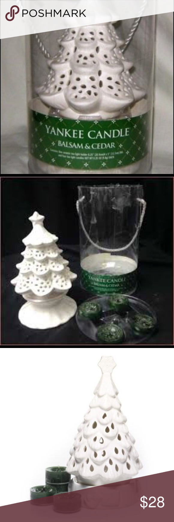 CHRISTMAS YANKEE CANDLE WHITE TREE CANDLE HOLDER WITH 4 BALSAM SCENTED TEALIGHTS
