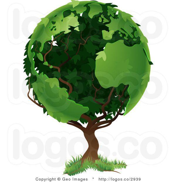 Vector Clipart Earth Tree Logo