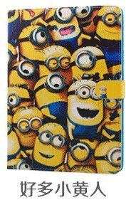 For Ipad air 2 II cute cartoon minion cover PU leather flip smart Despicable Me2 hasp case housing for Apple Ipad 6