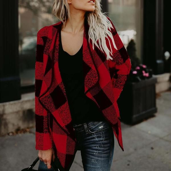 Trendy Plaid Lapel Woolen Coat Casual Outwear #womenswinterfashion
