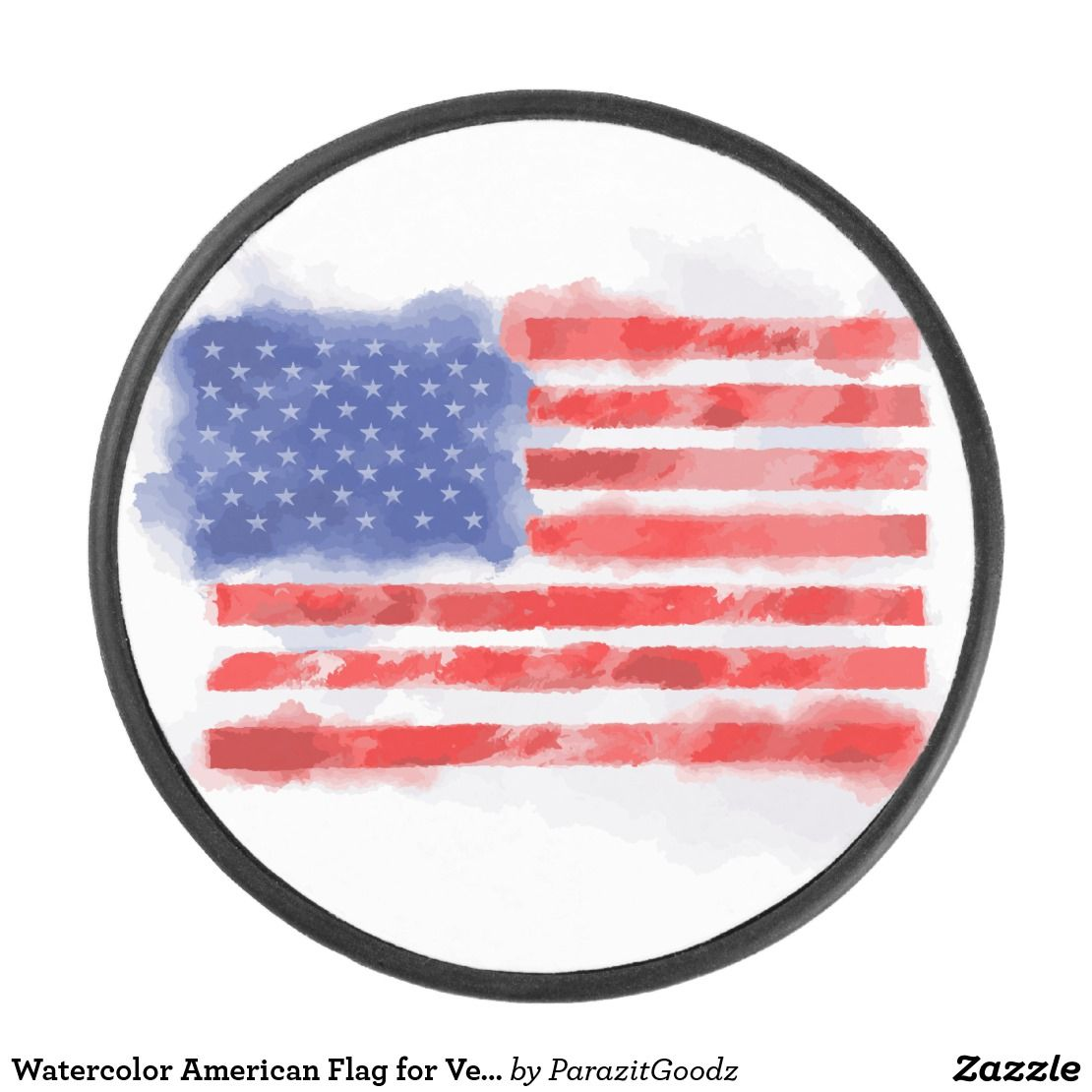 Watercolor American Flag For Veterans And Patriots Hockey Puck Zazzle Com Flag American Flag Hockey Puck