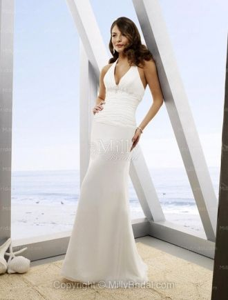 Sheath Column Halter Beading Chiffon Floor Length Wedding Dress