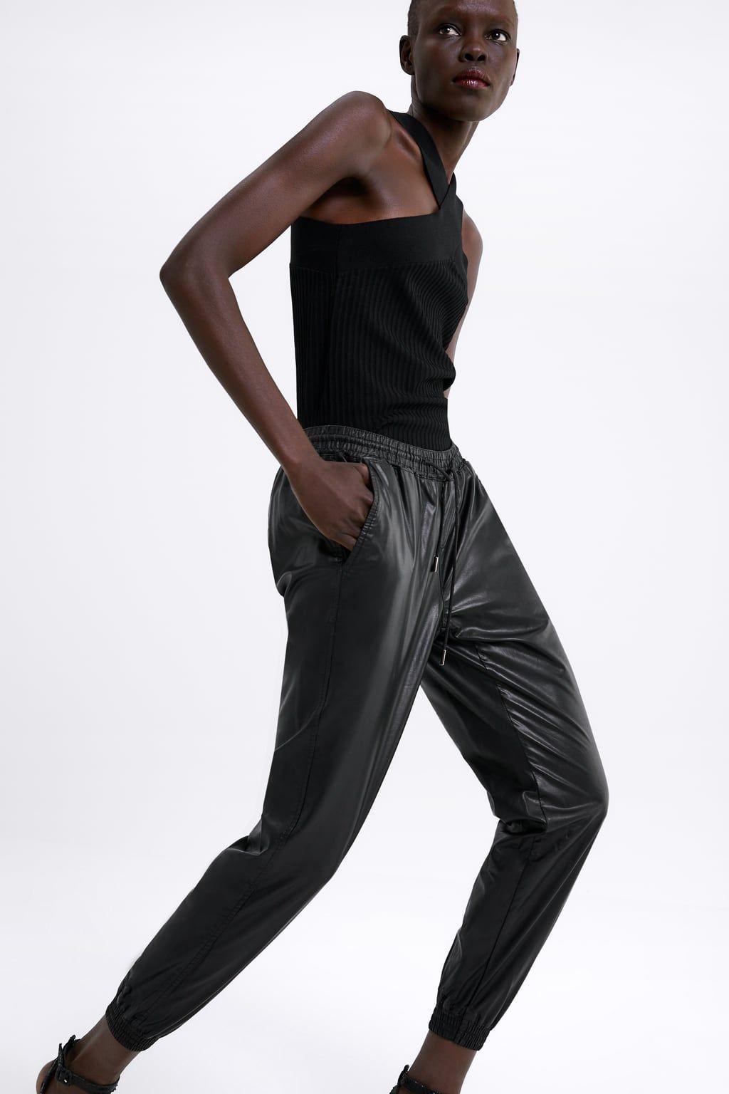 Pantalon zw premium style jogging en cuir synthétique