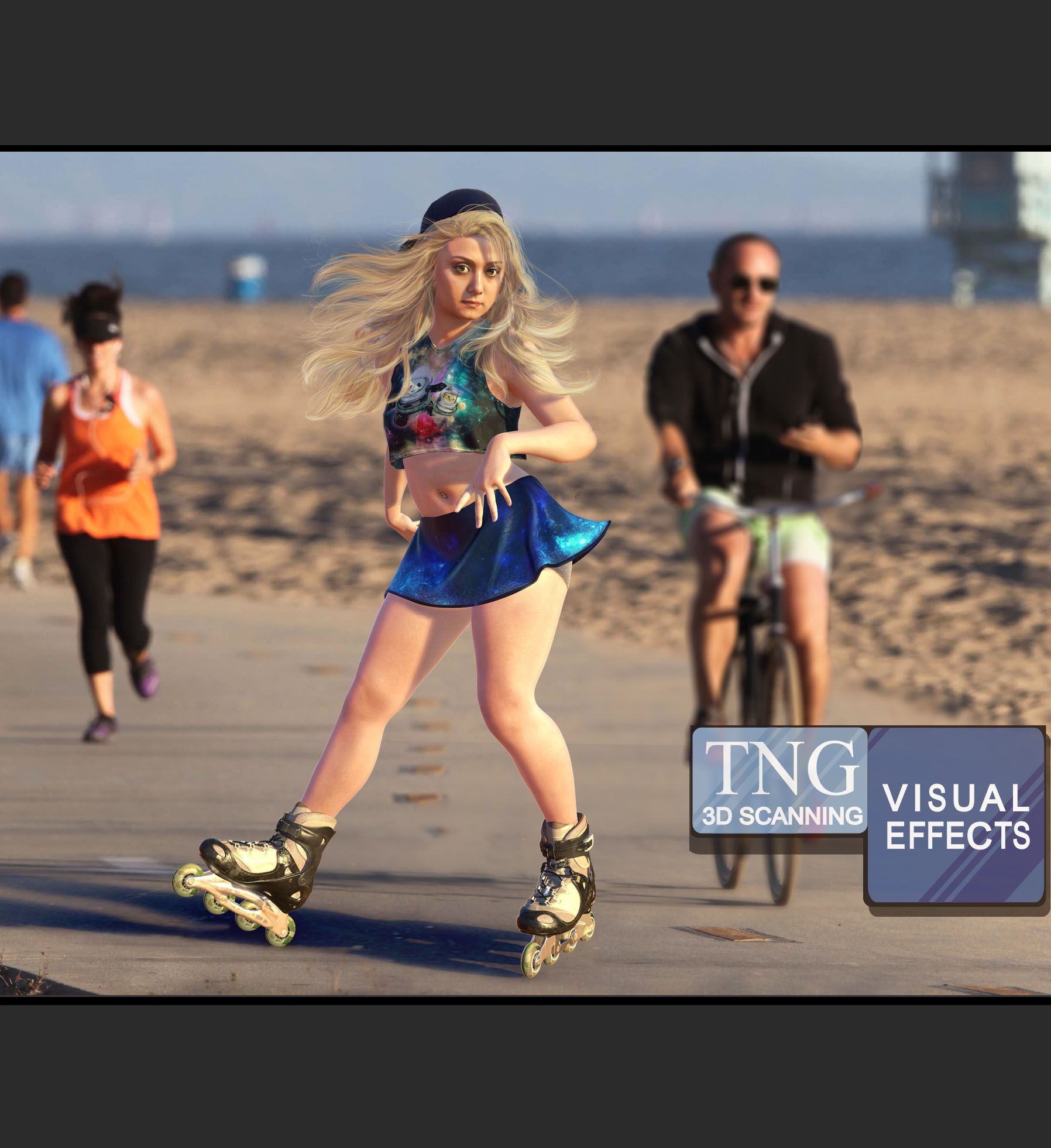 3D Melika Rollerblading on the Strand in sunny So. Cal. We 3D scanned her for our July 2016 Newsletter.
