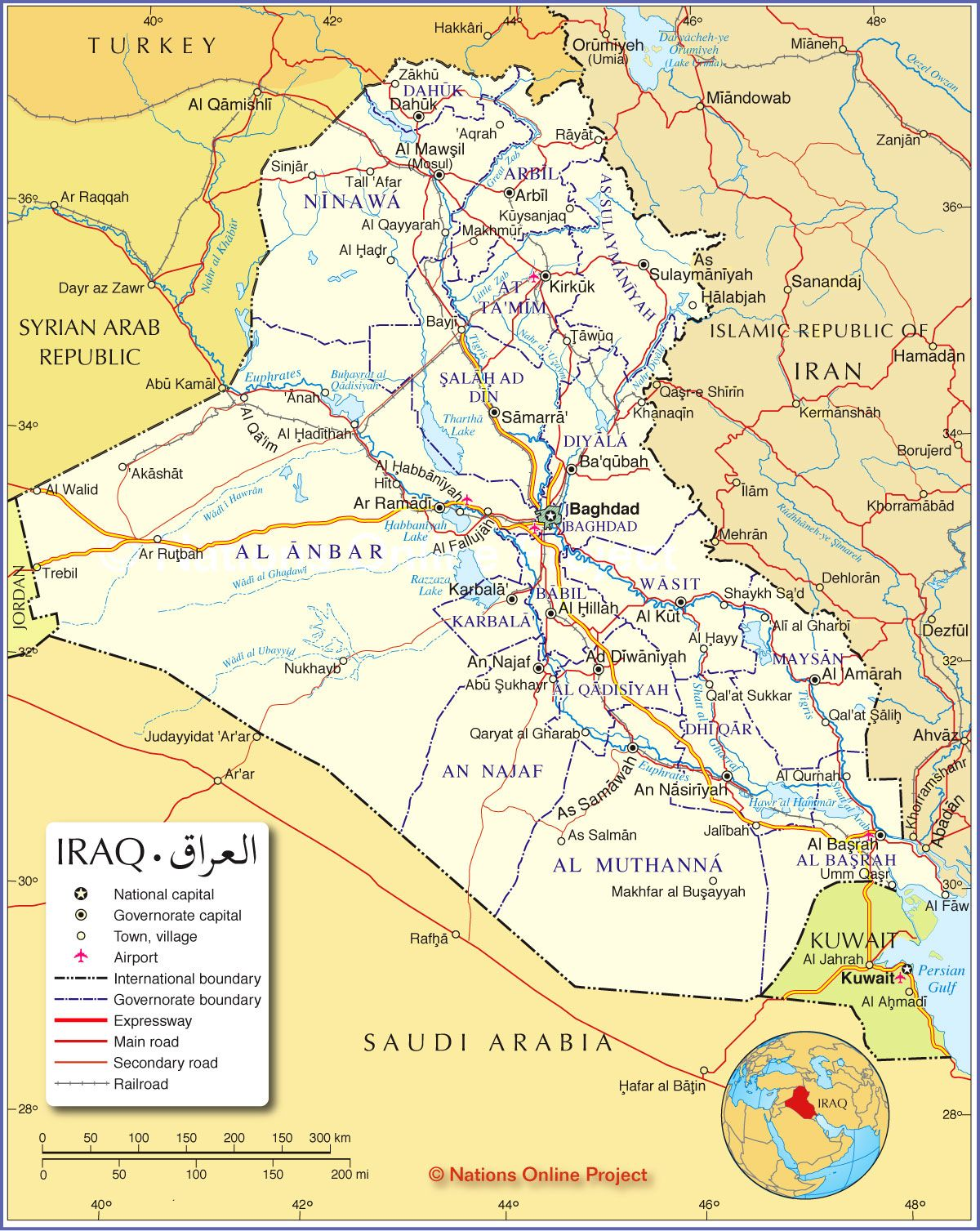 Political Map of Iraq Nations line Project
