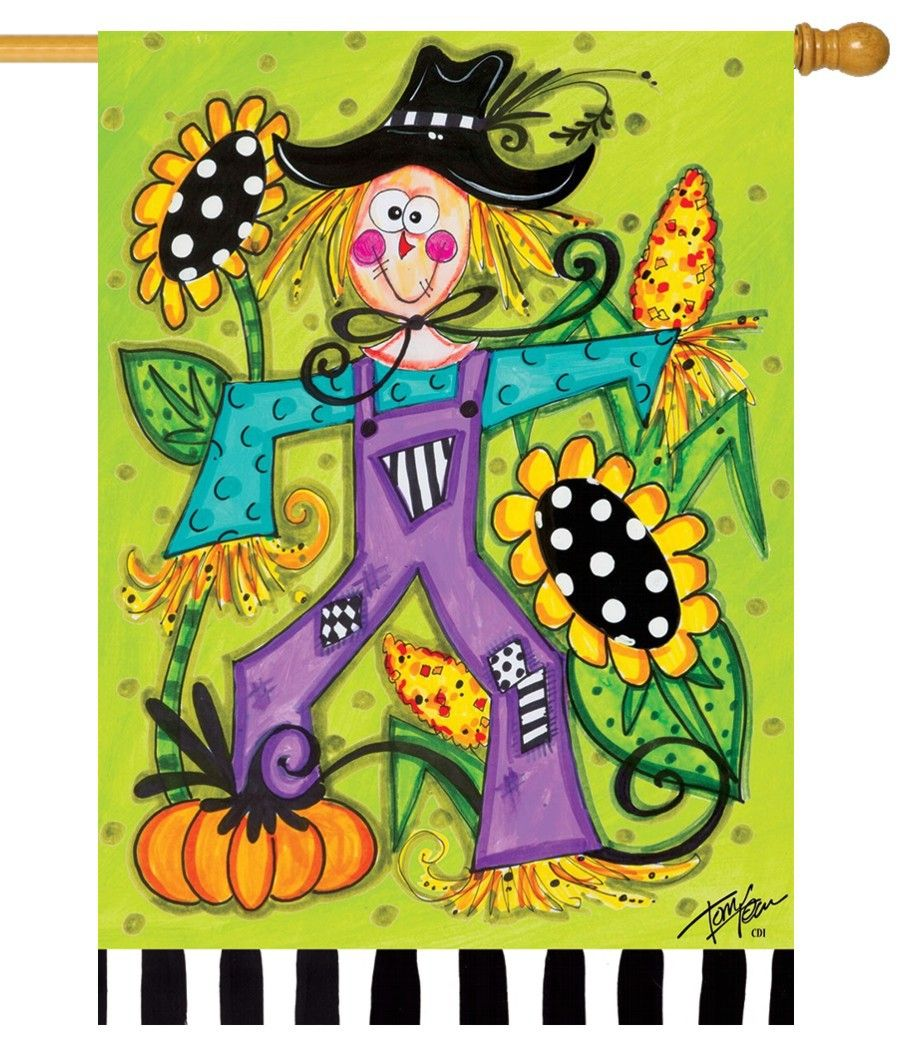 Whimsy Sunflower Scarecrow House Flag | House flags, Scarecrows and ...