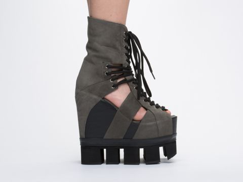 b6b6371ce1a0 Chromat Sport Lace Up Strappy Cut Out Extreme Platform Wedge Sandal Boots  in Grey Black at Solestruck.com