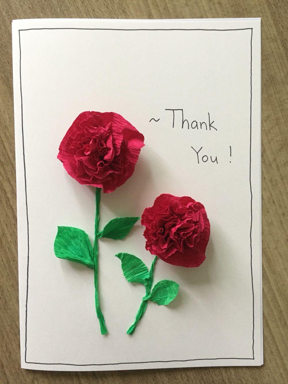 Easy carnation flower card made of stapled tissue paper