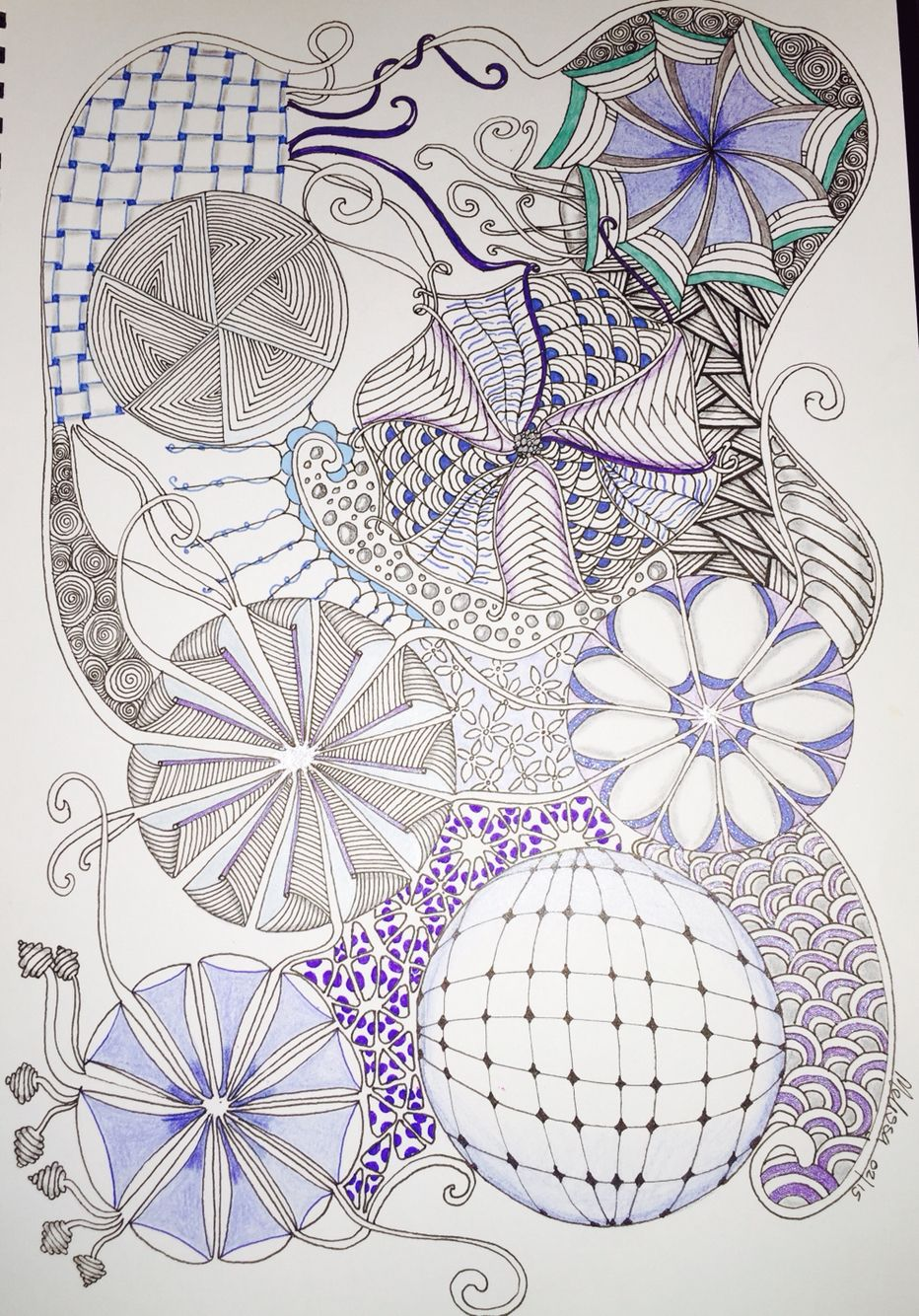 Zentangle ZIA colour doodle Inspired by Shelley Beauch