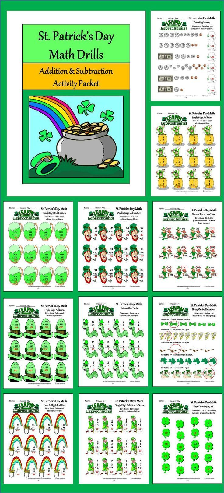 St. Patrick's Day Math Drills: St. Patrick's Day math activity packet providing many addition and subtraction drills/exercises.  Contents include: * Single, Double, & Triple Digit Addition * Single Digit Addition in Series * Basic Subtraction Facts * Doub