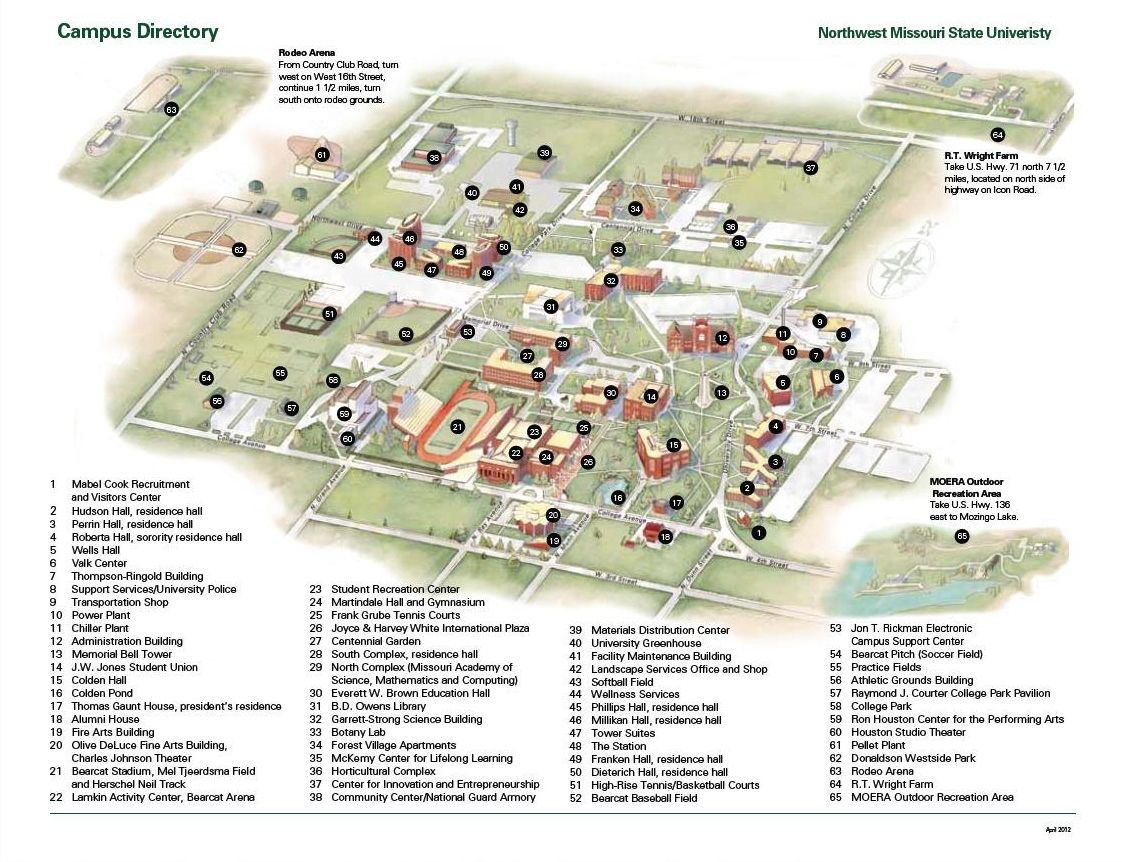 Northwest Missouri Map.Campus Maps Directions Incoming Students Campus Map Student Map