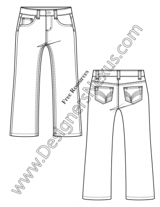 Kids / Toddler 5-Pocket Jeans Flat Fashion Sketch V18
