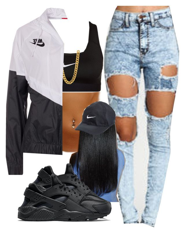 U0026quot;Sylvie Finesseu0026quot; by trillest-fashion liked on Polyvore featuring NIKE | outfits with sneakers ...