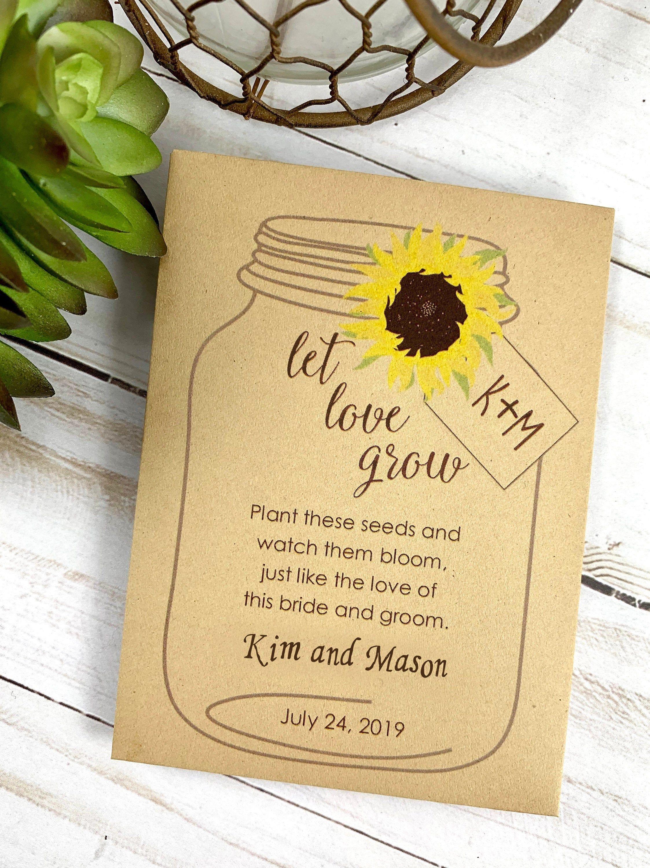 Diy Seed Packet Wedding Favors Personalized Custom Envelope