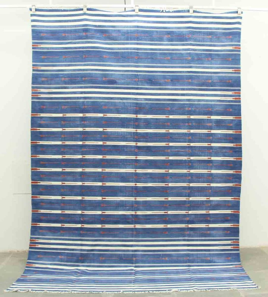 Handwoven Cotton Dhurrie Rug Blue White Haveli Stripes Flatweave