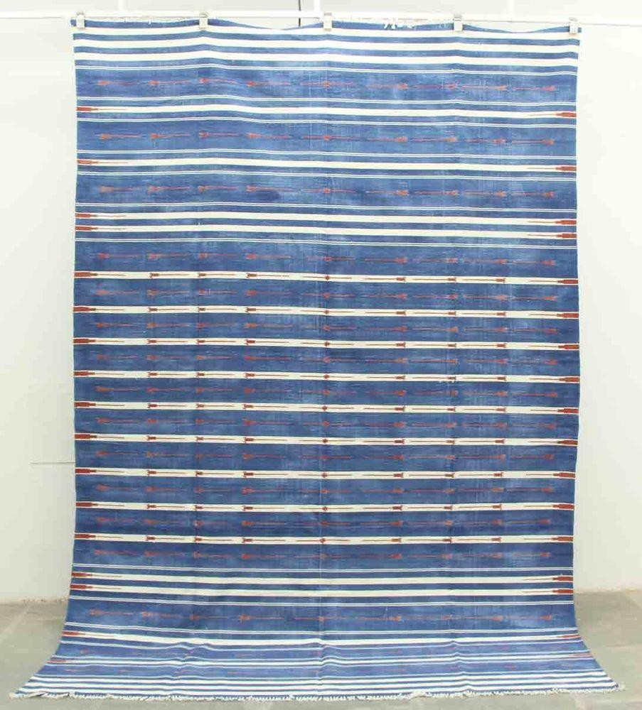 Handwoven Cotton Dhurrie Rug Blue White Haveli Stripes Flatweave