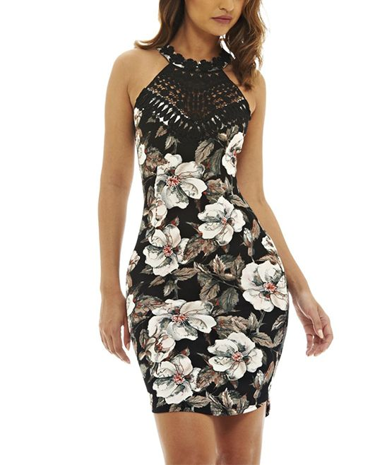 Black & Cream Floral Crochet-Yoke Dress